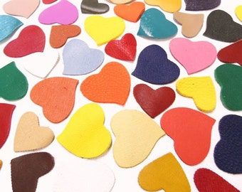 Leather Hearts(50Pcs)Genuine Leather/Lambskin.Craft Supplies/For Accessories,Applique,Decorations,Jewelry,Bags... Mixture or a single colors