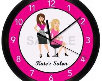 "Hair Salon WALL CLOCK 10"" Personalized Beauty Stylist"