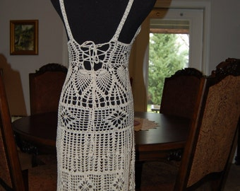 Crochet  Dress Ecru Cotton Back Lace Up size medium