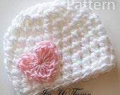 PDF CROCHET PATTERN Baby Hat, Baby Girl Hat, Newborn Beanie, Baby Newborn Hat, Baby Girl, Newborn Prop, Valentine Heart, Newborn Girl Hat