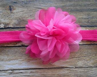 Pink baby elastic headband, light pink headband, hot pink headband, baby headband, infant headband, newborn headband, baby girl headband