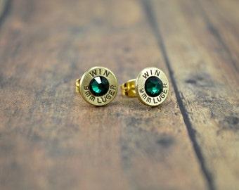 Bullet Earrings ~ Shell Stud Earrings 9mm Bullet Casings Post/Stud Earrings ~ Emerald Swarovski Gems