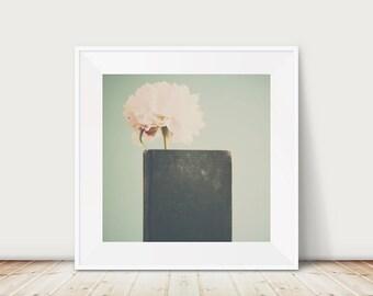pink peony photograph green book photograph still life photography pink flower photograph green book print pink peony print