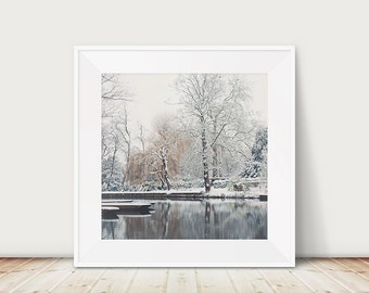 cambridge photograph winter photograph snow photograph boat photograph water reflections travel photography english decor