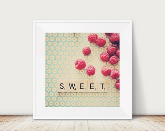 raspberry photograph, raspberry, kitchen wall art, food photography, neon, fuchsia, pink, mint, cream, fruit, color photography, sweet