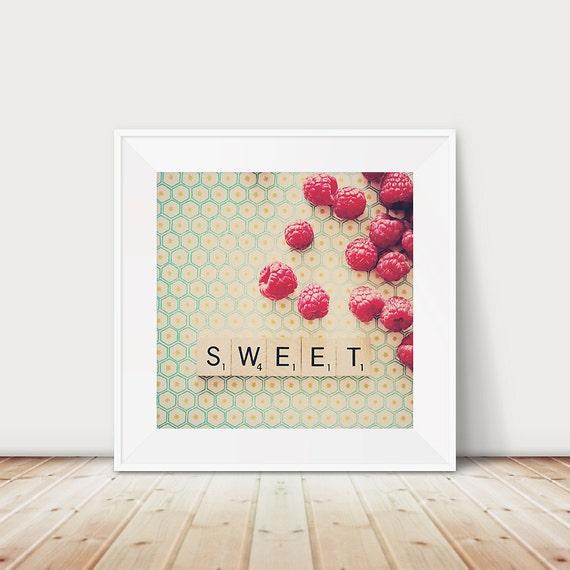 raspberry photograph, raspberry, kitchen wall art, food photography, neon, fuchsia, pink, mint, cream, fruit, color photography, sweet