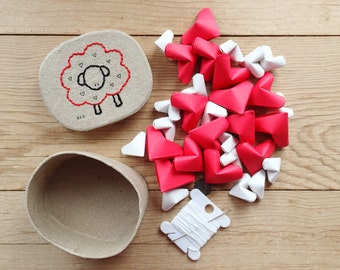 DIY Valentine's Garland Kit, Red 'Wee Baa', Hand Embroidered Box Filled with Origami Hearts. Sensationery Gift Set.