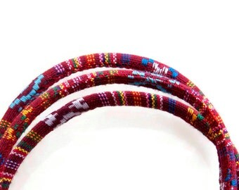 1m Red Ethnic Cord Textile Wrap Cord Embroider cord, Ethnic Stitched Fabric Cord, Embroidered Textile Cord 6.5mm  S 40 129