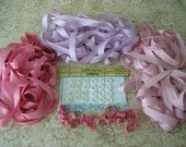 25% OFF SALE - 12 white + 12 ivory small doll buckles plus 30 yards of rayon ribbon in three colors pink lilac rose 1/2""
