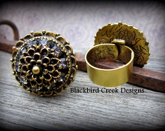 Gold Plated Cocktail Ring with Rhinestones-adjustable