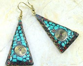 Womens Ladies Dangle Earrings Turquoise Red Coral Micro Mosaic Jewelry - Free Shipping