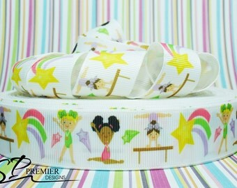 "1"" Gymnastics Girls Grosgrain Ribbon"