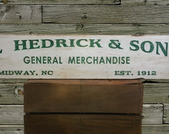 Personalized General Merchandise Store Wood Sign - Hand Made Antique Wooden Style