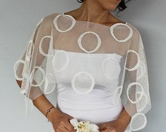 Lace Bridal Shrug, Bridal Cape, Shabby Chic Bridal Shawl, Bolero Cream Handmade Unique Design