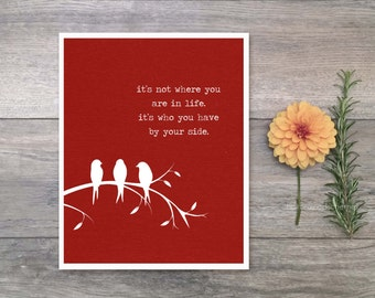 Digital Art Print By Your Side Inspirational Barn Red Poster Modern Love Quote Print Motivational Typography Three Little Birds