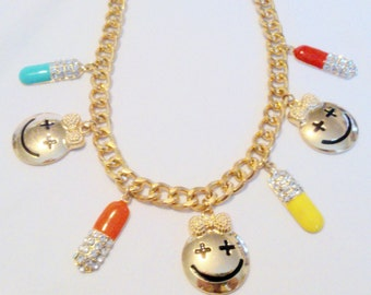 Vintage Enamel and Rhinestone Happy Face Charm Necklace