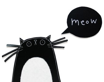 Cat Birthday Card, Black Cat Card, Birthday Card for Cat Lover, Blank Card, Meow Card, Cute Kitty Card