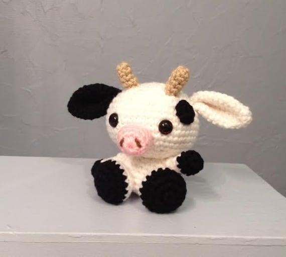 Baby cow stuffed animal amigurumi crocheted cow by meddywv