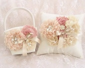 Victorian Flower Girl Basket and Pillow, Ring Bearer Pillow, Flower Girl Basket Set Wedding Pillow Vintage