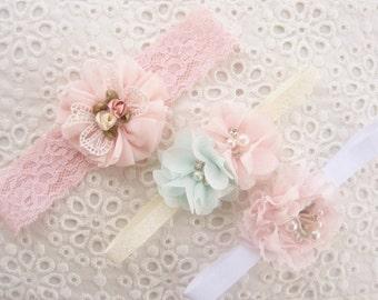Preemie Headband Baby Gift Set Newborn headband Baby Gift Set Shabby Chic Baby Headbands Newborn Shower Gift Blush Baby Headbands