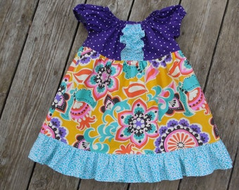 SALE - Girl's Toddlers Ruffle Peasant Dress  - Purple Yellow and Aqua Floral - Ready To Ship Size 2T