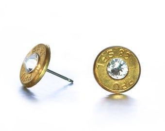 Bullet Stud Earrings - Brass and Diamond