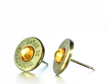 Bullet Stud Earrings - Silver and Yellow
