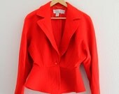 1980s Bright Red Blazer Lillie Rubin Peplum Jacket Career Single Button Womens Vintage Medium