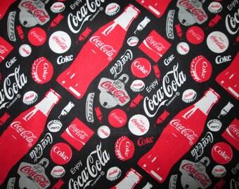 Coca Cola Coke Tossed Bottles Openers Black Cotton Fabric Fat Quarter or Custom Listing