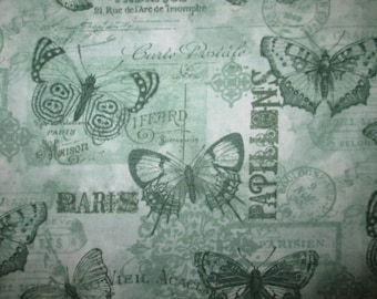 Vintage Paris Butterfly Scribe Writing Green Cotton Fabric Fat Quarter or Custom Listing