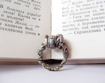 Paper jewelry, wire wrapped ring, wire ring, paper wrapped wire ring, recycled paper ring, newspaper ring, illustration ring, statement ring