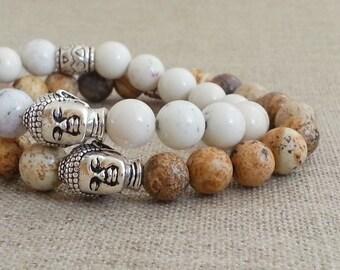 Buddha Bracelet. Beaded  Bracelet. Antique Silver Buddha Head. Stacking Bracelet. Stretchy Bracelet, Yoga Zen Jewelry