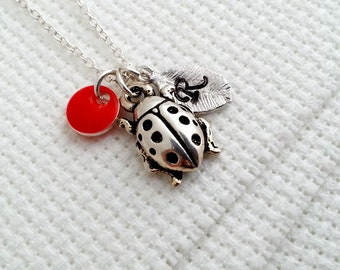 Ladybird Necklace. Initial Necklace. Silver Ladybird. Personalized Gift. Hand Stamped. Monogram Necklace. Summer Jewelry