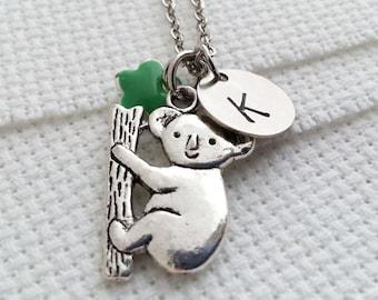 Koala Necklace,Initial Necklace, Silver Koala Necklace, Koala Pendant, Hand Stamped Initial,  Koala Bear, Koala Charm