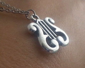 Silver Harp Necklace. Harp Pendant. Lyre Necklace. Lyre Charm. Music Jewelry. Musician Gift. Graduation Gift