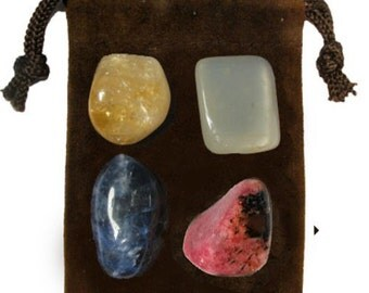 CONFIDENCE - Meditation Stone Set Crystal Healing Gemstone Kit, Tumbled Gemstone Healing Set, 4 Stones, Pouch, Card