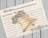 Christmas Recipe Cards Christmas Bell Printable Holiday Recipe Card 4x6 3x5 3.5x5 Instant Download