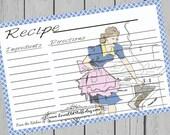 Mid Century Recipe Cards Printable 3x5 Recipe Card 4x6 3 Sizes Retro Kitchen Vintage Stove