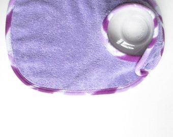 EcoBib--Adjustable Snap Closure--Lavender with TieDye Edge--Ready to Ship