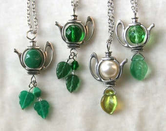 Silver Teapot Tea Leaves Necklace, green emerald mint pearl
