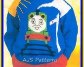 PDF Knitting Pattern for a Thomas The Tank Sweater for Children - Instant Download