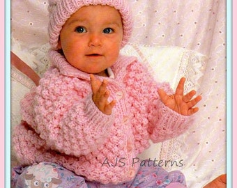 PDF Knitting Pattern - Baby Chunky Knit Jacket & Matching Hat - Instant Download
