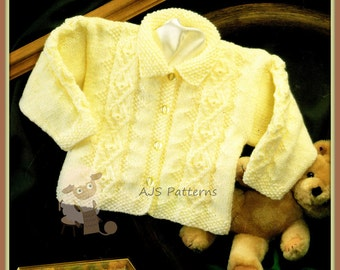 """PDF Knitting Pattern for a Baby/Child's Cabled Cardigan to Fit 16-24"""" Chests - Instant Download"""