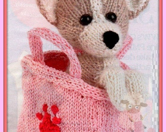 PDF Knitting Pattern for Tiny Dog/Chihuahua Dog & Carry Bag Soft Toys - Instant Download