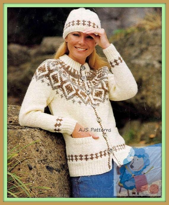 PDF Knitting Pattern Ladies Chunky Knit Fair Isle or Nordic