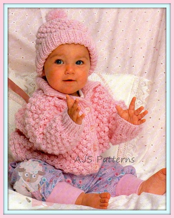 PDF Knitting Pattern Baby Chunky Knit Jacket & Matching Hat