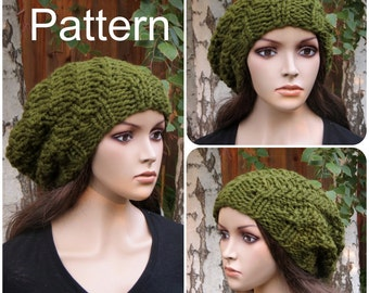 PDF KNITTING PATTERN - Instant Download - Oversized Slouchy Beanie Baggy Hat - Instant