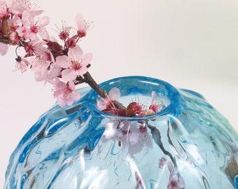 Hand Blown Glass Vase, Centerpiece, Seaglass Blue, Wedding Gift, Minimal Home Decor