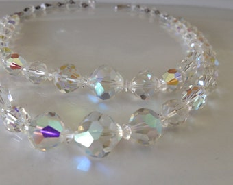 Vintage Double Strand 1950's Clear Crystal aurora Borealis Bead Choker Necklace