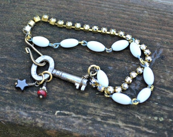 Skeleton Key Bracelet with vintage rhinestone and antique glass bead chain antique assemblage jewelry